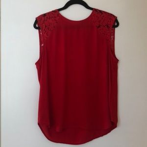 Jcrew Red lace sleeve blouse